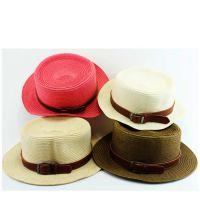 夏天儿童草帽 防晒遮阳平顶草编帽皮带扣太阳帽 儿童夏季旅游帽子