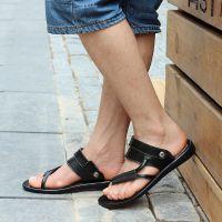 男凉鞋 正品 真皮透气韩版潮流沙滩鞋男士懒人夹趾凉拖鞋夏季大码