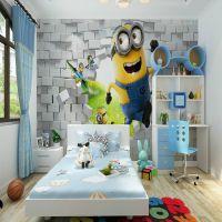 无缝大型壁画 卧室客厅背景墙纸儿童房神偷奶爸小黄人3D立体壁纸