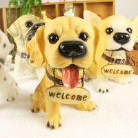 优沃家居创意礼品 家装饰品 树脂工艺品 大号叼牌欢迎狗摆件 特惠