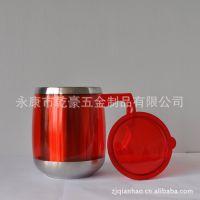 厂家直销双层汽车杯,内钢外塑,透明塑料不锈钢礼品杯QH-013款