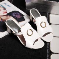 2015夏季新潮款金属环装饰增高女式凉拖鞋 粗跟套趾一字拖鞋批发