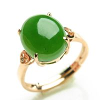 高档18K金配钻石镶嵌天然菠菜绿碧玉戒指 正品和田玉女指环可伸缩