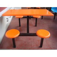 供应厂家直销学校食堂工厂员工圆凳快餐桌椅组合四人连体玻璃钢餐桌椅