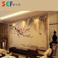 彩雕瓷砖电视背景墙厂专业提供 喜上眉梢雕刻彩色背景墙