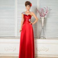 高档 2015新款红色结婚敬酒新娘晚礼服修身伴娘服单肩长款春夏