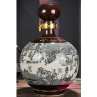 雕刻做旧酒瓶酒坛批发 清明上河图雕刻酒坛子价格