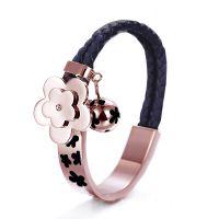 外贸首饰 pu皮革饰品 皮绳手链 钛钢玫瑰金手饰 混批一件代发