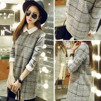 韩式服装代理 厂家一件免费代理 网店代理女装 格纹连衣裙 代发货