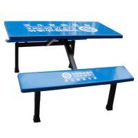 厂家直销定做现代餐厅食堂餐桌椅 康腾批发4人位连体餐桌椅
