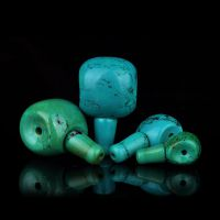 【双色蓝绿】天然绿松石藏式三通佛头 diy佛珠 饰品配件 散珠