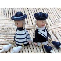 地中海风格装饰 电表箱摆件海军吊脚娃娃 木质工艺品一件代发