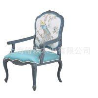 新古典 欧式 小鸟图案 蓝色作旧 休闲椅 实木椅 家具特价定制