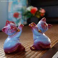 孔雀蝶 泰国木雕工艺品彩绘动物摆件 手工芒果木彩绘家居招财猫
