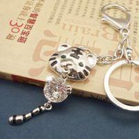 100元饰品混批 韩版挂件 可爱 锆石老虎 金属钥匙扣银色3504-5