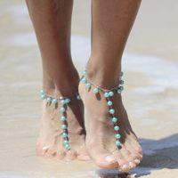 Ebay速卖通爆款 沙滩脚饰 全手工珍珠流苏脚链 瑜伽配饰 K037