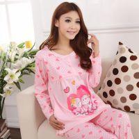 批发哺乳装 春秋女款长袖爱心可爱小熊棉质睡衣孕妇装家居服5288