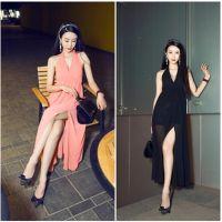 2015新款韩版女装名媛风性感深V领下摆开叉长款雪纺连衣裙 夏季