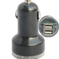 迷你车载充电器 黑色 双USB接口车充汽车手机子弹头车充13-3A\712