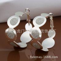 品牌银饰 圆圈镶钻耳环 大方气质女孩精品  厂家优质供应  FE466
