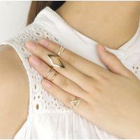 YE068速卖通爆款 时尚百搭镶钻箭头菱形三角形关节套装戒指 指环