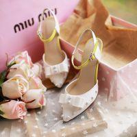 外贸夏季新款高跟凉鞋甜美蝴蝶结细跟女凉鞋铆钉尖头鞋欧洲站女鞋