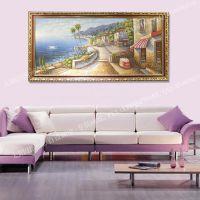 地中海风景油画 实木框风景油画 风景油画 装饰画厂家供应批发