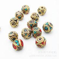 尼泊尔铜珠 手工镶嵌绿松石 藏饰隔珠扁珠 DIY星月金刚配件批发