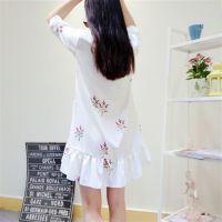 韩国东大门代购夏装韩版碎花长款衬衫雪纺连衣裙女娃娃领衬衫裙潮