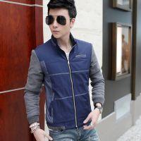 2015秋季新款男装 韩版修身立领男士夹克 男式拼色薄款外套潮批发