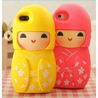 日本苹果娃娃6g手机壳苹果5g架子卡通保护套iphone5s手机壳硅胶连卷带外壳图片