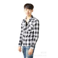 热销推荐 韩国服装代加工 多色纯棉格子衬衣 优质韩版衬衫