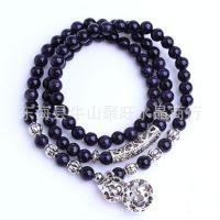聚旺水晶 天然蓝砂石手链108颗佛珠手链银饰葫芦 DIY饰品配件手链