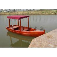 一头尖欧式木船 4m木质观光手划船 户外旅游手划木船 颜色可选