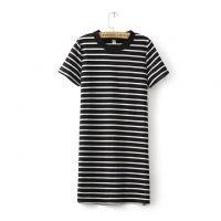 2015夏装新款女装韩版短袖圆领套头中长款条纹T恤打底衫女上衣
