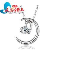 厂家直销批发 925纯银月亮代表我的心 吊坠 饰品 礼物