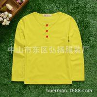 2015秋季新款童T恤 韩版儿童男童半开胸长袖净色纯棉T恤  打底衫