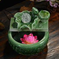 陶瓷喷泉流水 工艺品风水球 雾化器生态鱼缸家居开业摆件加湿器