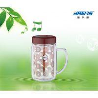 哈尔斯 真空杯 创意双层带盖茶杯 两色可选 杯子批发定制