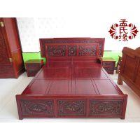 榆木床 中式山水雕刻大床 明清仿古中式古典家具带两个床头柜