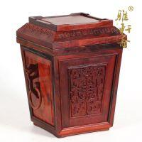 木石有约 红木工艺品 结婚礼品 果篮 六角红酸枝果盆 糖果盘
