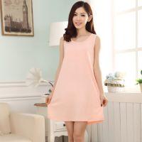 夏季新款女士睡裙 纯色无袖短裙 厂家直销 一件代发 批发
