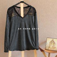 2014年秋季新款条纹蕾丝日本原单t恤打底衫14022165