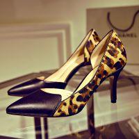 2015春款欧洲站真皮马毛女单鞋细跟尖头浅口韩版性感豹纹女高跟鞋