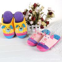 外贸韩国原单冬款小熊小猪卡通毛绒面家居拖鞋 静音地板鞋 室内鞋