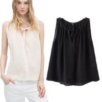 2015春夏新款欧洲站ZA系带背心 纯色无袖T恤 女式打底衫 NDX230