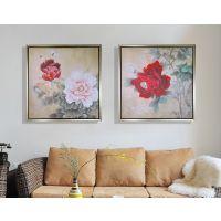 枫荣装饰画56097国画牡丹三联双联画客厅沙发背景墙挂画富贵花开