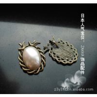 DIY项链饰品配件批发:zakka古青铜色滴胶宝石底座托25*18双鸟款