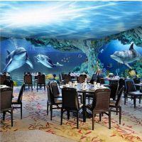 主题KTV墙纸订制 餐厅海底世界壁画 酒店3d个性壁纸