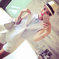 小银子2015夏装新款气质海军风减龄系带条纹衬衫女上衣B